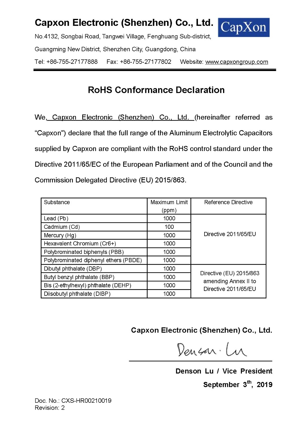 RoHS Conformance Declaration